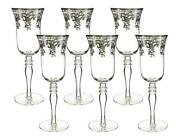 D Crystal Champagne Flute Glasses With Silver Pattern 6pc, Vintage Glassware