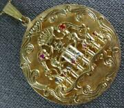 Antique Large .60ct Aaa Sapphire And Ruby 14kt Yellow Gold Menorah Pendant 1146