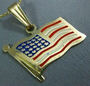 Estate Large Red White And Blue Enamel 14k Yellow Gold American Flag Pendant 25303