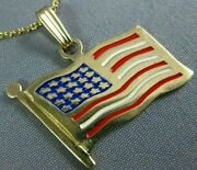 Estate Large 14kt Yellow Gold 3d Handcrafted Enamel American Flag Pendant 25302