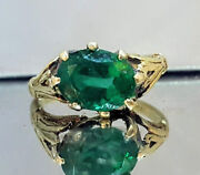 Vintage Antique 14k Yellow Gold Ring 1.81ct. Natural Green Emerald Circ 1920's