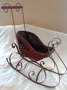 Antique Large Wicker And Metal Doll Sleigh - Victorian Decor - Christmas Sleigh