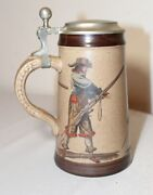 Vintage Marzi And Remy Lidded Pottery Stoneware Pewter Figural Beer Stein Mug