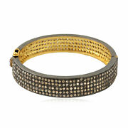 Ethnic 8.45 Ct Pave Diamond 18kt Yellow Gold Bangle 925 Sterling Silver Jewelry