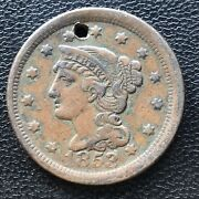 1853 Large Cent Braided Hair One Cent 1c Error Off Center 7079