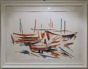 Aquarell Original And039rote Booteand039 Herbert Meiler Hm3 68x48cm Red Boats