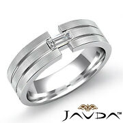 0.25ct. Parallel Grooved Matte Baguette Diamond Mens Half Wedding Band Gold Ring