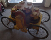 Unusual Wooden Antique Folk Art Whimsey Cart Made Of Industrial Molds Cool