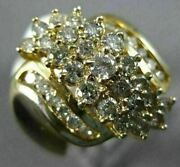 Estate Extra Large 1.5ct Round Cut Diamond 14k Yellow Gold Cluster Cocktail Ring