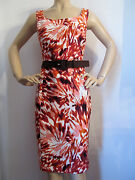 New St John Knit 6 Sheath Dress Watermelon Orange Peach White And Tobacco Brown