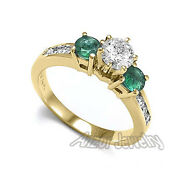 14k Solid Yellow Gold Emerald Diamond Engagement Ring Ring Size 4 To 9.5 1393.