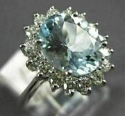 Estate Large 2.65ct Diamond And Aaa Aquamarine 14kt White Gold 3d Engagement Ring