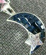 Estate .81ct Diamond And Aaa Sapphire 18kt White Gold 3d Star And Moon Love Pendant