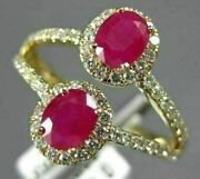 Estate Wide 1.22ct Diamond And Aaa Ruby 14kt Yellow Gold 3d Double Halo Love Ring