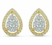 Estate .89ct Diamond 18kt White And Yellow Gold 3d Cluster Tear Drop Stud Earrings