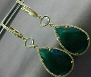 Estate 10.83ct Diamond And Aaa Green Agate 14kt Yellow Gold 3d Tear Drop Earrings
