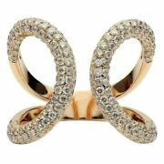 Estate Large 1.50ct Diamond 18kt Rose Gold Classic Pave Butterfly Fun Love Ring