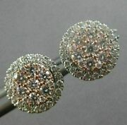 Estate Large 1.54ct White And Pink Diamond 14kt White And Rose Gold 3d Halo Earrings