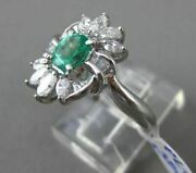 Antique Large 1.57ct Diamond And Aaa Emerald Platinum 3d Floral Engagement Ring