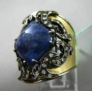 Antique Large 5.40ct Diamond And Sapphire 18k Black And Yellow Gold 3d Filigree Ring