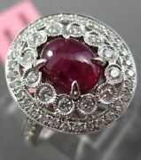 Estate Large 2.74ct Diamond And Aaa Ruby 18k White Gold 3d Open Filigree Love Ring