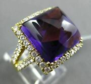 Antique Large 14.37ct Diamond And Aaa Amethyst 18kt Yellow Gold 3d Cocktail Ring