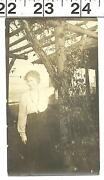 Vintage Old Bandw 1919 Photo Of Pretty Woman In Her Garden 3065