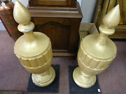 Large Pair Of Antique Decorative Wooden Turned Finials In Old Gold Paint