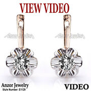 0.90 Ct Old Russian Style Genuine Diamond Earrings Gold 585 14k. Style E1129