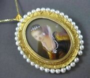 Antique Large Diamond And Pearl 18kt Yellow Gold Victorian Lady Pin Pendant 2969