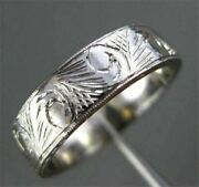 Antique Wide Filigree Hand Crafted 14kt White Gold Wedding Ring Beautiful 1056