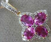 Estate Large 2.89ct Diamond And Aaa Pink Sapphire 18kt Rose Gold 3d Flower Pendant