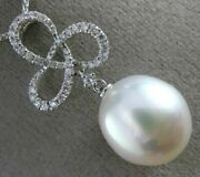 Estate .36ct Diamond And South Sea Pearl 18kt White Gold Love Knot Flower Pendant