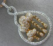 Large 1.33ct Diamond 18kt White And Rose Gold 3d Infinity Pear Shape Love Pendant