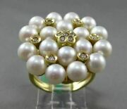 Estate Large .62ct Diamond And South Sea Pearl 18kt Yellow Gold Floral Etoile Ring