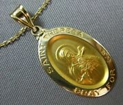 Estate 14kt Yellow Gold Saint Theresa Pray For Us Oval Pendant And Chain 24989