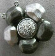 Estate Large And Long .16ct Diamond 14kt White And Black Gold Hammer Flower Necklace
