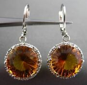 Estate Large 11.34ct Diamond And Aaa Citrine 14kt White Gold Halo Hanging Earrings