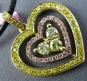 Estate Large 1.0ct Pink And Fancy Diamond 18tk Yellow And Rose Gold 3d Heart Pendant