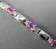 Estate Long 4.10ct Diamond And Pink Sapphire 14kt White Gold Oval Tennis Bracelet
