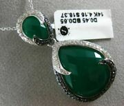 Estate Large 23.63ct White And Black Diamond And Green Agate 14kt White Gold Pendant