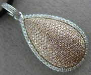 Estate Large 1.05ct White And Pink Diamond 18kt White Gold Tear Drop Love Pendant
