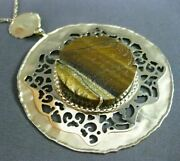 Estate Large And Long Tiger Eye 14kt Yellow Gold 3d Handcrafted Filigree Necklace