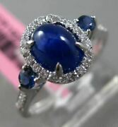 Estate 2.36ct Diamond And Sapphire 18kt White Gold 3d 3 Stone Oval Engagement Ring