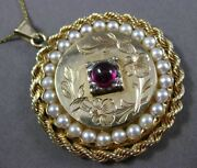 Antique Large 1.0ct Aaa Ruby And Pearl 14kt Yellow Gold Handcrafted Floral Pendant