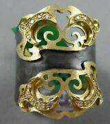 Antique Large .21ct Diamond 18k Black And Yellow Gold 3d Double Crown Italian Ring