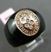 Antique .20ct Diamond And Aaa Onyx 14kt Rose Gold 3d Italy Oval Etoile Button Ring