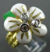 Estate Large .10ct Diamond 18kt Yellow Gold 3d White And Yellow Enamel Flower Ring