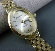Estate Oval 14kt Yellow Gold Geneve Watch With Diamond Cut Band Amazing 22619