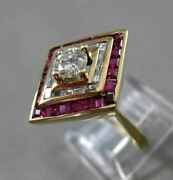Antique Wide 1.85ctw Diamond And Aaa Ruby 14kt Yellow Gold Engagement Ring 2716